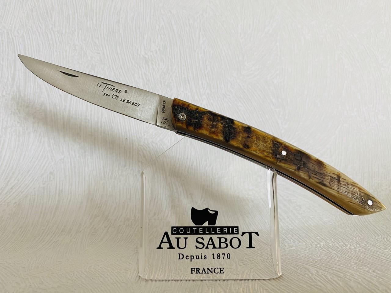 Couteau de Poche Le Thiers manche en corne de bélier au prix de 85,90 euros .
